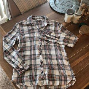 Plaid button down long sleeve top / shirt like new